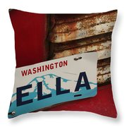 Bella License Plate Throw Pillow