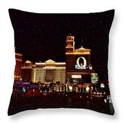 Bellagio And Caesar's Palace In Las Vegas-nevada Throw Pillow