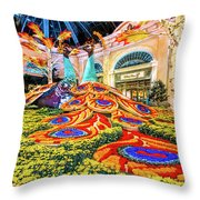 Bellagio Conservatory Fall Peacock Display Side View Wide 2017 Throw Pillow
