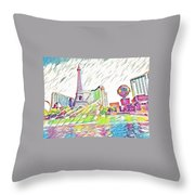 Bellagio Fountains Throw Pillow