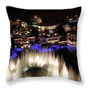 Bellagio Hotel Fountain Throw Pillow