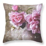 Belle Fleur Pink Peonies Throw Pillow