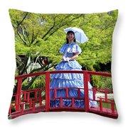 Belle On Red Bridge Throw Pillow