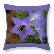 Bellflower And Bee  Throw Pillow