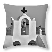 Bells In Oia Bw Throw Pillow