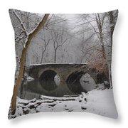 Bells Mill Bridge On A Snowy Day Throw Pillow