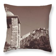 Belltower And Fortress Of Palamidi, Nafplio, Greece. Sepia. Throw Pillow