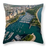 Belmont Harbor Chicago Throw Pillow
