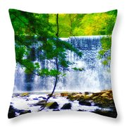 Below The Waterfall Throw Pillow