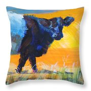 Belted Galloway Cow Side View Throw Pillow