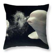 Beluga Delphinapterus Leucas Whale Throw Pillow by Hiroya Minakuchi