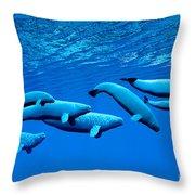 Beluga Whale Pod Throw Pillow