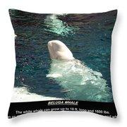 Beluga Whale Poster Throw Pillow
