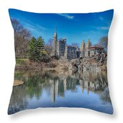 Belvedere Castle And Turtle Pond Throw Pillow