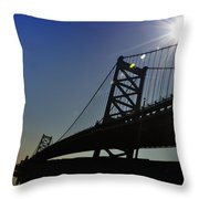 Ben Franklin Bridge 2 Throw Pillow