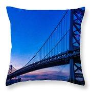 Ben Franklin Bridge At Sunset Throw Pillow