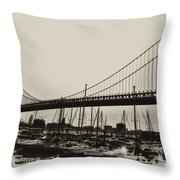 Ben Franklin Bridge From The Marina In Black And White. Throw Pillow