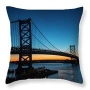 Ben Franklin Bridge In Philadelphia At Dawn Throw Pillow