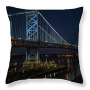 Ben Franklin Bridge In Philadelphia At Night Throw Pillow