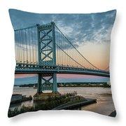 Ben Franklin Bridge In Philadelphia In The Early Morning Throw Pillow