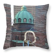 Ben Franklin Sculpture And St Peters Basilica Philadelphia Throw Pillow