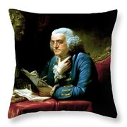 Ben Franklin Throw Pillow by War Is Hell Store