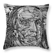 Ben In Wood B W Throw Pillow