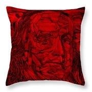 Ben In Wood Red Throw Pillow