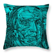 Ben In Wood Turquoise Throw Pillow