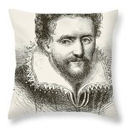 Ben Jonson 1572 To 1637. English Throw Pillow