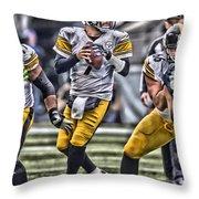 Ben Roethlisberger Pittsburgh Steelers Art Throw Pillow