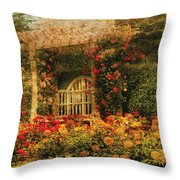 Bench - The Rose Garden Throw Pillow