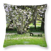 Bench Among Magnolia Throw Pillow