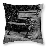 Bench And Boot 1 Throw Pillow by Michael Colgate