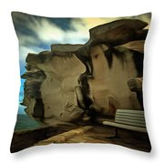 Bench And Huge Overhanging Rock Throw Pillow