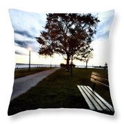 Bench And Street Light Throw Pillow