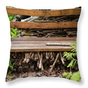 Bench And Wood Pile Throw Pillow
