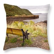 Bench At The Bay Throw Pillow
