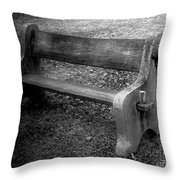 Bench By The Barn Throw Pillow