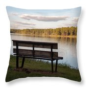 Bench By The Lake Throw Pillow