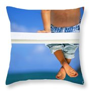 Bench By The Ocean Throw Pillow by Dana Edmunds - Printscapes