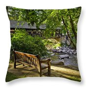 Bench By The Stream IIi Throw Pillow