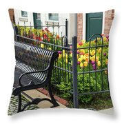 Bench By The Tulips Throw Pillow