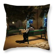 Bench For Reflection In The Night Throw Pillow