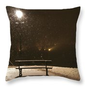 Bench For The Snowflakes Throw Pillow