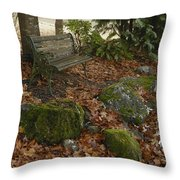 Bench In Fall Throw Pillow