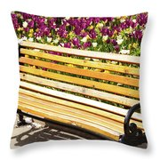 Bench In The Tulips Throw Pillow