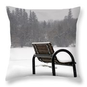 Bench In Winter Throw Pillow
