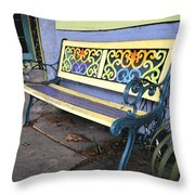 Bench Of Color Throw Pillow