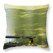 Bench On A Lake Throw Pillow